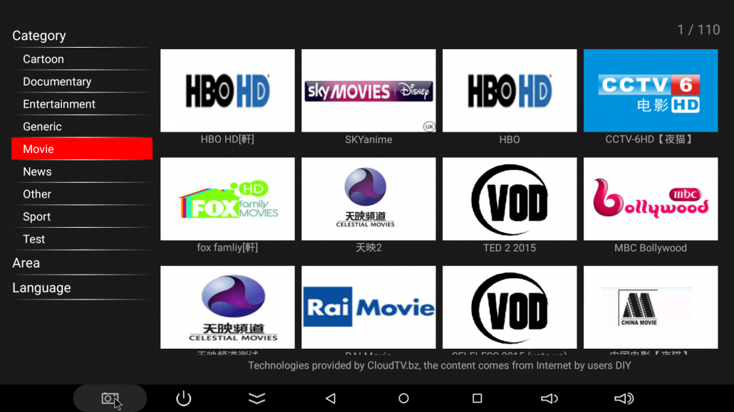 Movie Channels on Cloudtv available in all MINIX players